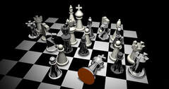 A picture of a chess board with a king captured symbolizing a victorious strategy.